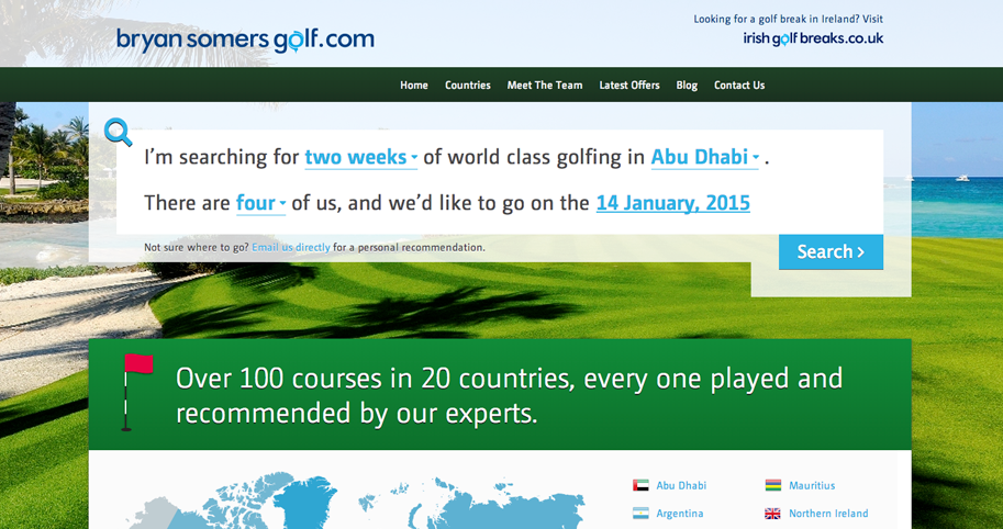 Bryan Somers Golf website image
